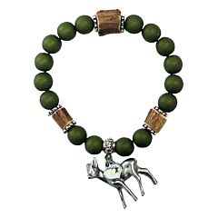 Perlen-Armband grün mit Reh-Anhänger in Silber