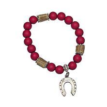 Armband mit roten Perlen und Hufeisenanhänger in Silber