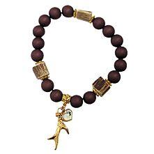 """Armband aus dunkelbraunen Acrylperlen mit goldenem Anhänger """"Rehgehörn"""""""