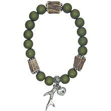 """Armband aus grünen Acrylperlen mit silbernem Anhänger """"Rehgehörn"""""""