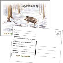 Postkarte Jagdeinladung Winter Mangold 5er-Set