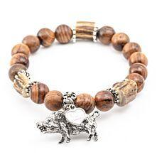"Armband aus Holzperlen mit silbernem Anhänger ""Wildsau"""