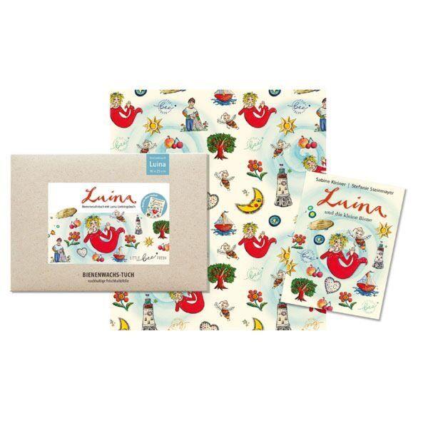 """Bio-Bienenwachstuch """"Kinder-Set"""" - mit Luina-Lieblingsbuch"""